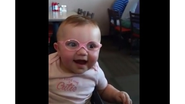3dc10c42f66c Watch  Baby finally sees clearly with new glasses