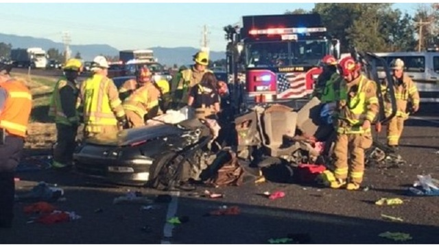 Jaws of Life pulls woman from 2-car wreck