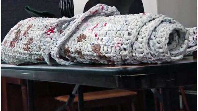 Sleeping mats for homeless made from plastic grocery bags