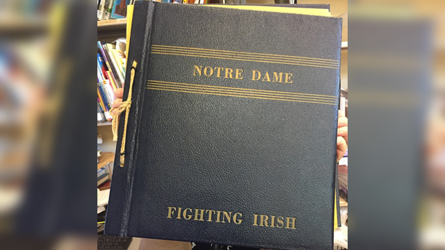Notre Dame photo album found at Belmont Library