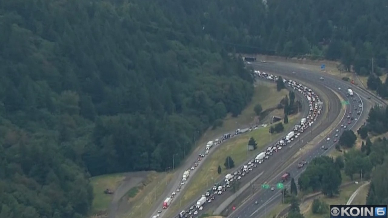 Traffic hits Portland highways, but not where expected
