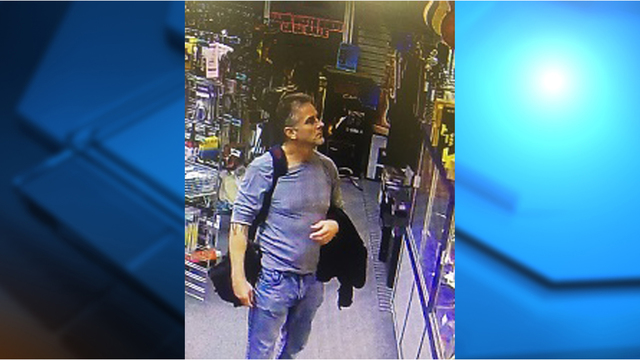 Man caught on camera stealing from music store