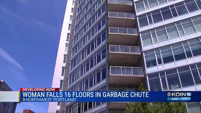 Woman gets into garbage chute, falls 16 stories